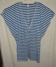 Blue Stripe V Neck Batwing Sleeve Swim Suit Cover Up Old Navy Size L 14 16