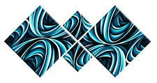 TEAL TURQUOISE CANVAS ABSTRACT PICTURE WALL ART DIAMOND 4 PIECE PANEL 148cm wide