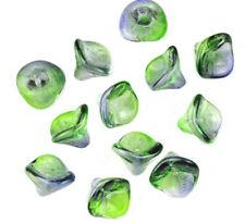 12 Blueberry / Green 3 Petal Glass Flower Beads 12MM