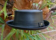 BLACK LEATHER ENGLISH MEN'S & WOMEN'S  PORK PIE / JAZZ / SKA HAT VINTAGE STYLE