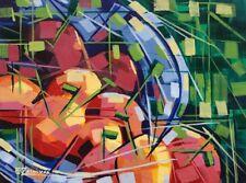 Cubist Still life, Original acrylic painting, Fruits, Contemporary art