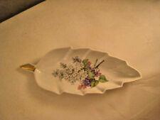 Vintage Old Nuremberg Candy Dish Bavaria Germany Leaf with Lilac