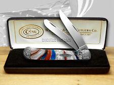CASE XX Engraved Bolster Series Genuine Star Spangled Trapper Pocket Knives