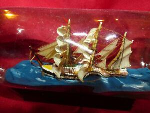Ancienne Maquette Diorama Bateau Navire en Bouteille Objet de Marine