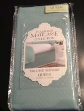 Diamond Queen Bedskirt New NWT Matelasse Aqua Color