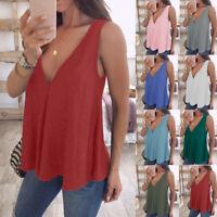 Womens V Neck Sleeveless Tank Tops Cami T-Shirt Summer Vest Blouse Plus Size
