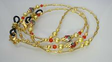 Spectacle Glasses Eyewear Beaded Chain Holder Gold with Red Cloisonné