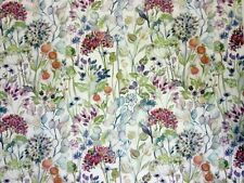 VOYAGE DECORATION HEDGEROW CREAM COUNTRY 3 PRINTED UK CURTAIN FABRIC FLORAL