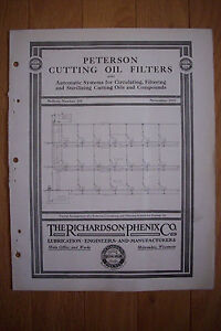 1915 Trade Catalog THE RICHARDSON-PHENIX CO Peterson Cutting Oil Filters