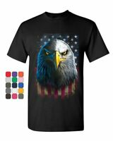 Bald Eagle Stare T-Shirt 4th of July USA Stars and Stripes Flag Mens Tee Shirt