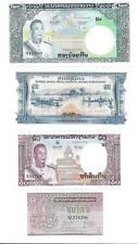 4 Crisp Mint Unc Bank Notes From Laos 1, 50, 100, 200 Kip - P364