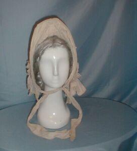Antique Hat Victorian 1850's Beige Cotton Collapsible Cane Bonnet