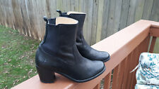 WOMENS FRYE JANIS GORE SHORT BLACK LEATHER ANKLE HEEL BOOTS SIZE 8.5 3474170