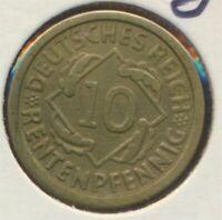 German Empire Jägerno 309 1923 G very fine 10 Rentenpfennig spikes (7869105