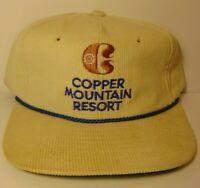 Vintage 1980s Copper Mountain Ski Resort Colorado CORDUROY SNAPBACK TRUCKER HAT