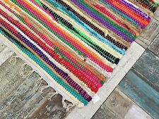 Fair Trade Second Nature Fringed Multi Coloured CHINDI Rag Rug Mat - Choose