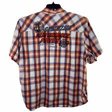 Harley Davidson White Orange Blue Tartan Plaid Snap Short Sleeve Shirt Mens 3X
