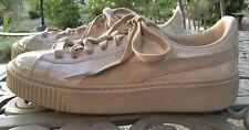 PUMA BASKET PLATFORM Tan Patent Leather/suede Women's Sz 8 Sneaker EUC