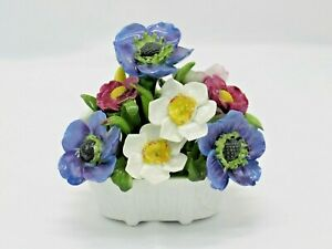 Aynsley Hand Painted Flowers Basket Vintage England Bone China Floral Encrusted