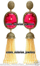 Antique Vintage 6.31ct Rose Cut Diamond Ruby Pearl Silver Tassel Earring Jewelry