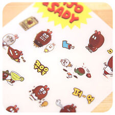 #82 Cute Majo & Sany rabbits PVC Stickers notebook diary decoration 6 sheets