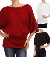New Women's Juniors Dolman Sleeve Slouchy Cable Knit Sweater
