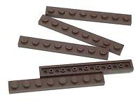 Lego 5 New Dark Brown Plates 1 x 8 Dot Building Blocks