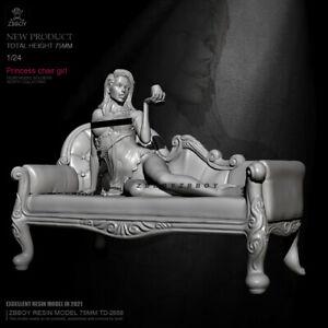 Princess chair girl 1/24 75 mm Scale Resin Figure