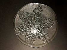 Kosta Boda Party Glass Leaf Glass Serving Platter/ Plate By Ann Warff