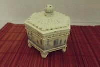 VINTAGE JAPANESE POWDER JAR TRINKET JAR HAND PAINTED OCTAGON FOOTED