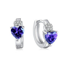 925 Silver Plated Hoop Earrings Purple CZ Crystal Pierced Earrings Small Hoop