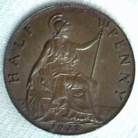 1922 Great Britain Bronze Half Penny Coin XF Extra Fine 1/2 Penny British Coin