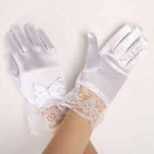 Kids Princess Gloves Flower Girl Short Gloves Satin Lace Stretch Mittens