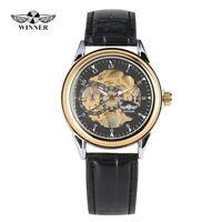 Men's Transparent Hand-wind Mechanical Watch Stainless Steel Skeleton Wristwatch
