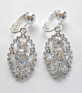 LOVELY DIAMOND-LIKE CRYSTAL SPARKLE DANGLES - CLIP ON EARRINGS (hook options)