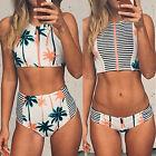 New Floral Bikini Sets High Neck Zipper Striped Swimsuit High Waist Swimwear