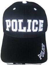 POLICE Hat Baseball Cap Adjustable Embroidered White On Black Hat Headwear