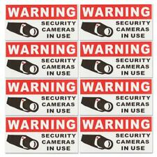 8Pcs SECURITY CAMERA IN USE  Waterproof Self-adhensive Warning Stickers Safety S