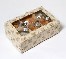 6 petites boules de Noël vintage argent et or