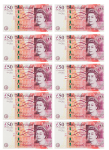 10 x Edible £50 GBP Note Icing Cake Topper Decoration Cupcakes Birthday Party