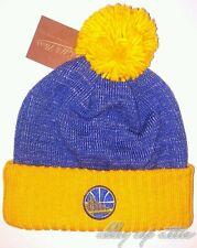 Golden State Warriors Mitchell & Ness NBA Basic Heater Knit Pom Beanie Hat Cap