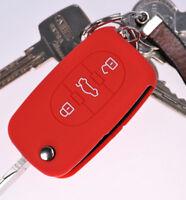 Klapp Schlüssel Hülle Cover Silikon Rot f. AUDI A4 B6 A3 8L A6 C5 A2 K