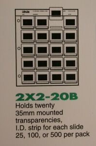 Print File 25 Sheets of 2X2-20B for 35mm Mounted Slides - New Old Stock