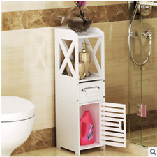 White Modern Home Cabinet Storage Cupboard Standing Unit Bathroom Toilet Wood
