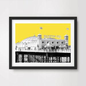 BRIGHTON PIER YELLOW POP ART PRINT Poster Bold Decor Modern Bright Colour 10Size