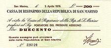 CASSA RISPARMIO SAN MARINO 1976 BANCONOTA MINIASSEGNO L. 200 FIOR DI STAMPA UNC