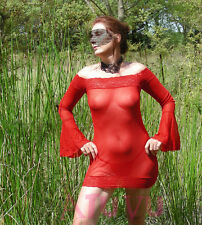 Mini Robe Sexy Nuisette Transparente Manche Longue String Rouge 36 38 40 42
