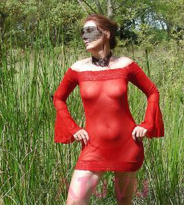 Mini Robe Stretch Sexy Transparente Epaule Nue Manche Longue String Rouge S M L
