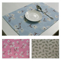 Floral Placemats Cotton Linen Dining Room Table Mat Heat Insulation Pad Kitchen