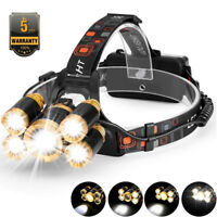 80000LM 5-LED Zoom LED Rechargeable XM-L T6 Headlamp Light Head Torch Flashlight